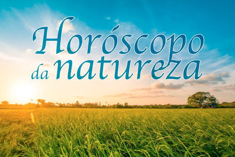 Horóscopo da natureza escrito sobre fundo de paisagem