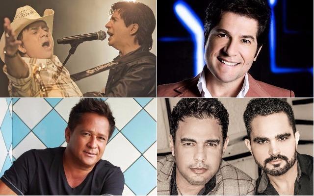 Montagem com cantores do sertanejo: Chitãozinho, Xororó, Daniel, Leonardo, Zezé Di Camargo e Luciano.