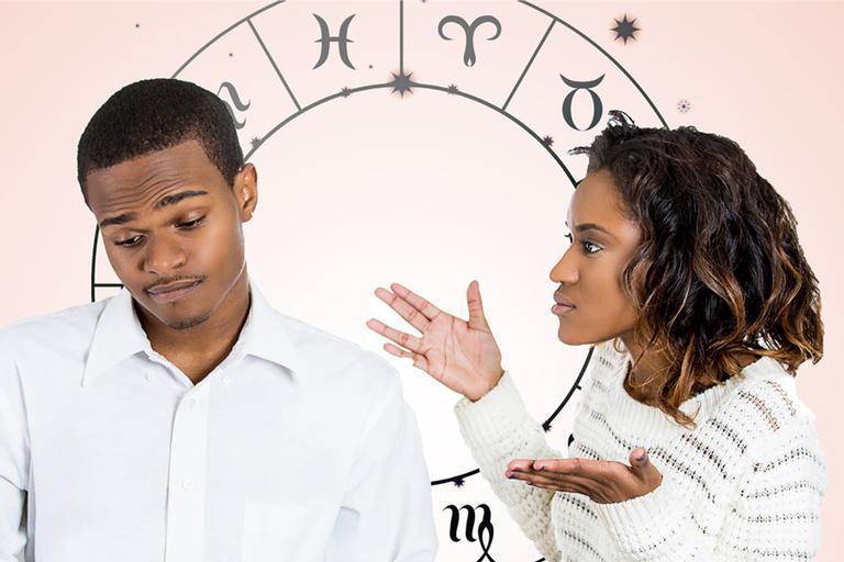 Imagem de um casal provavelmente brigando ou discutindo, com os signos do zodíaco ilustrados ao fundo, simbolizando o inferno astral