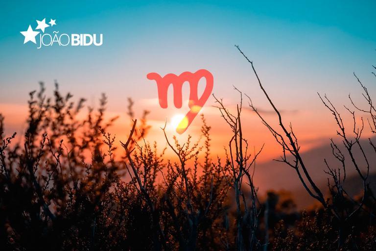 Pôr do sol entre arbustos com o símbolo de Virgem acima do sol.