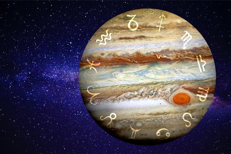 Imagem do planeta Júpiter com símbolos dos signos ao redor