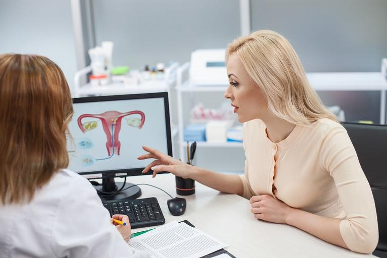 Na imagem, a mulher aponta para o monitor do computador onde está o desenho de um útero no consultório médico. Vagina saudável.