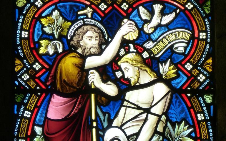 João Batista realizando o batismo de Jesus